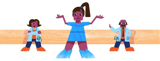 3 figures, one woman (patient) shrugging her shoulders, and two doctors