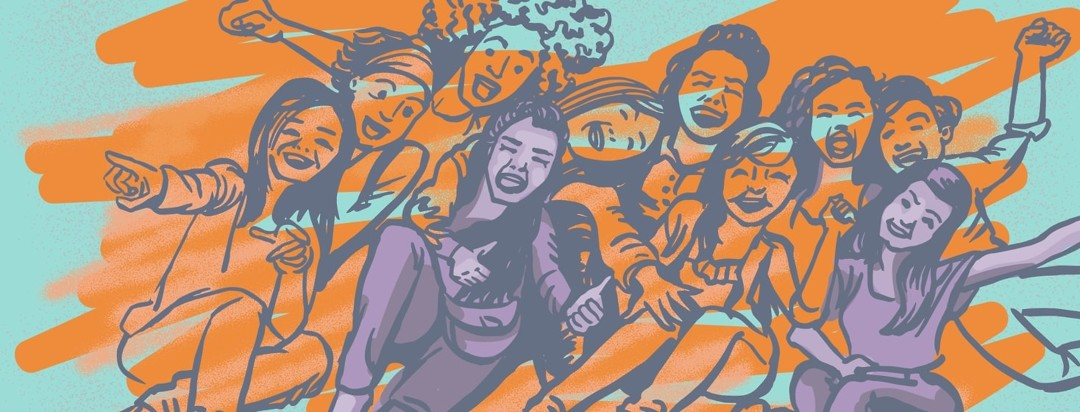 Group of ten young women laughing together. Two are highlighted.