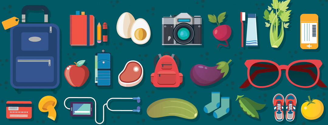 collage with foods and travel items