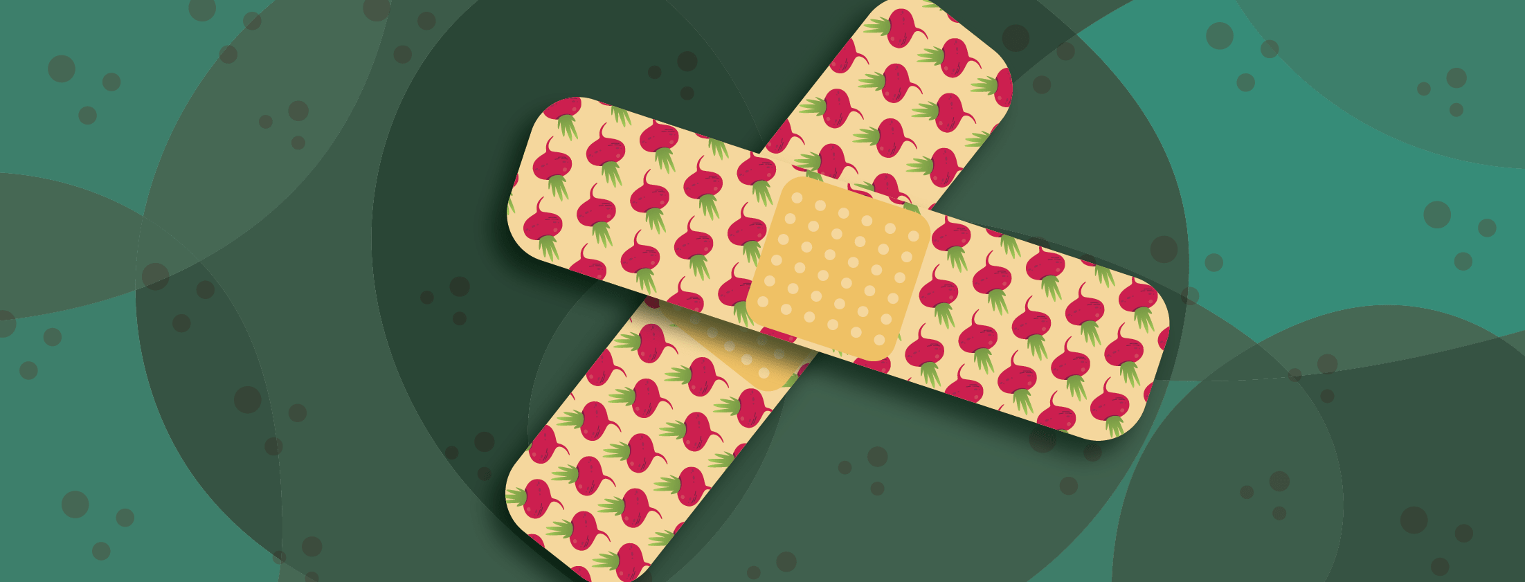 Bandaids with a beet pattern
