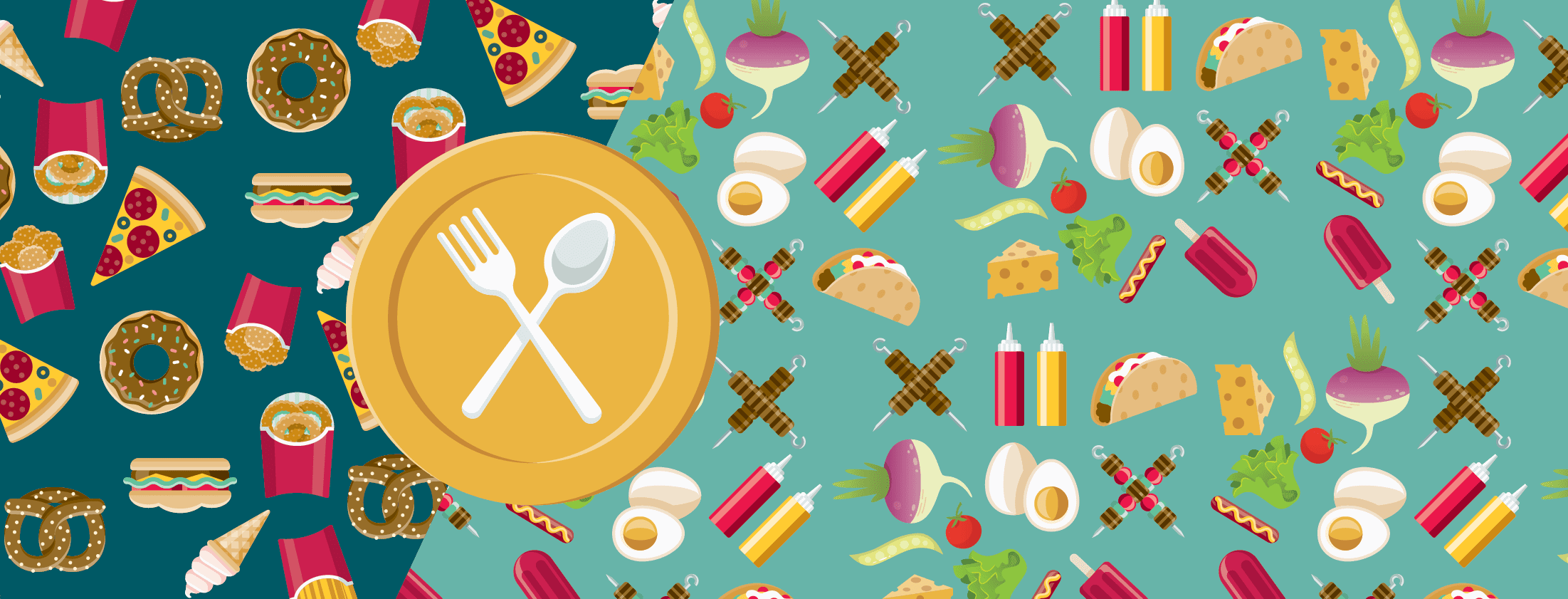 A plate over a pattern of foods you can and can