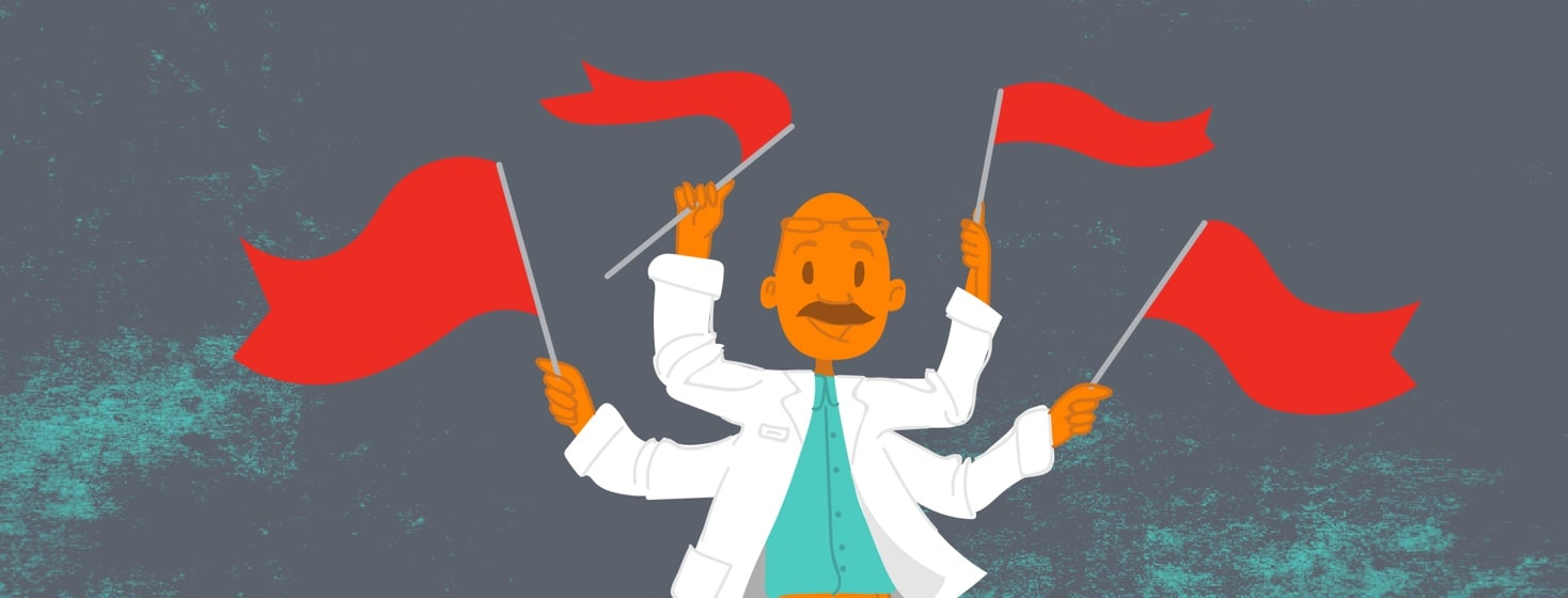 A doctor with multiple arms waves red flags in each hand
