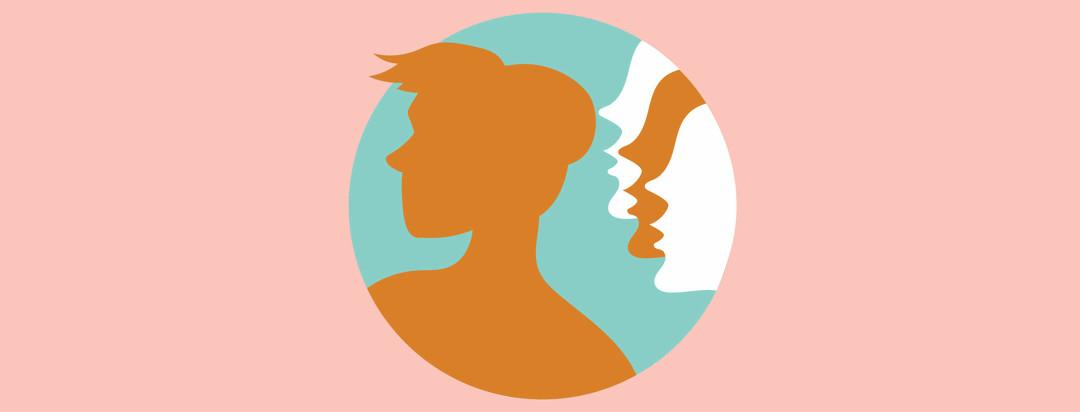 people whisper in a woman's ear