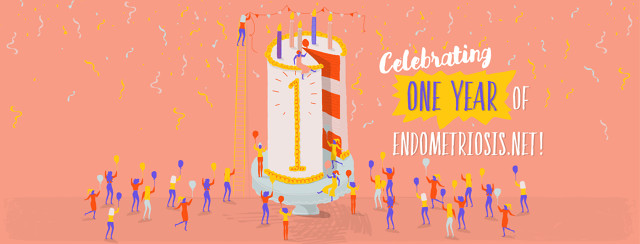 """A large birthday cake with a number one written on the side is surrounded by celebrating people, balloons, and confetti. The image says """"Celebrating One Year of Endometriosis.net"""""""