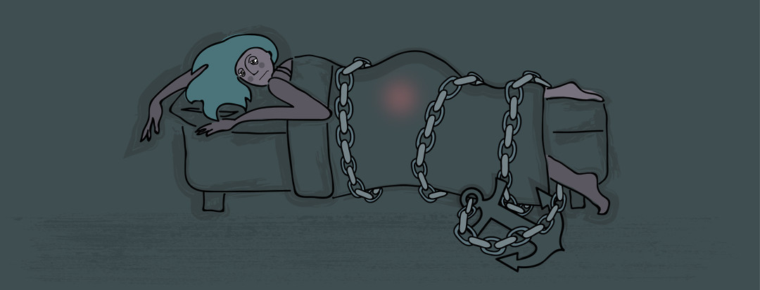 A very tired looking girl is chained to her bed with an anchor at the end, while a glowing red orb is around her pelvic region.