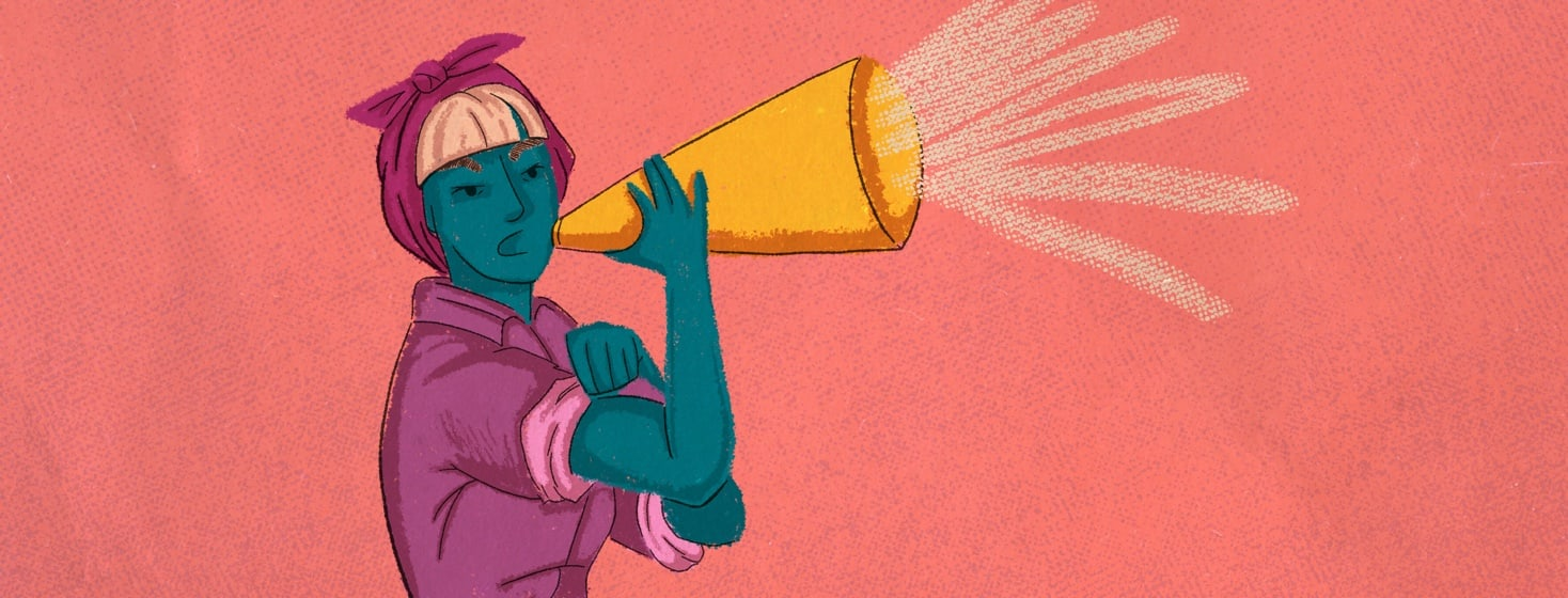 Rosie the Riveter type character yelling into a megaphone