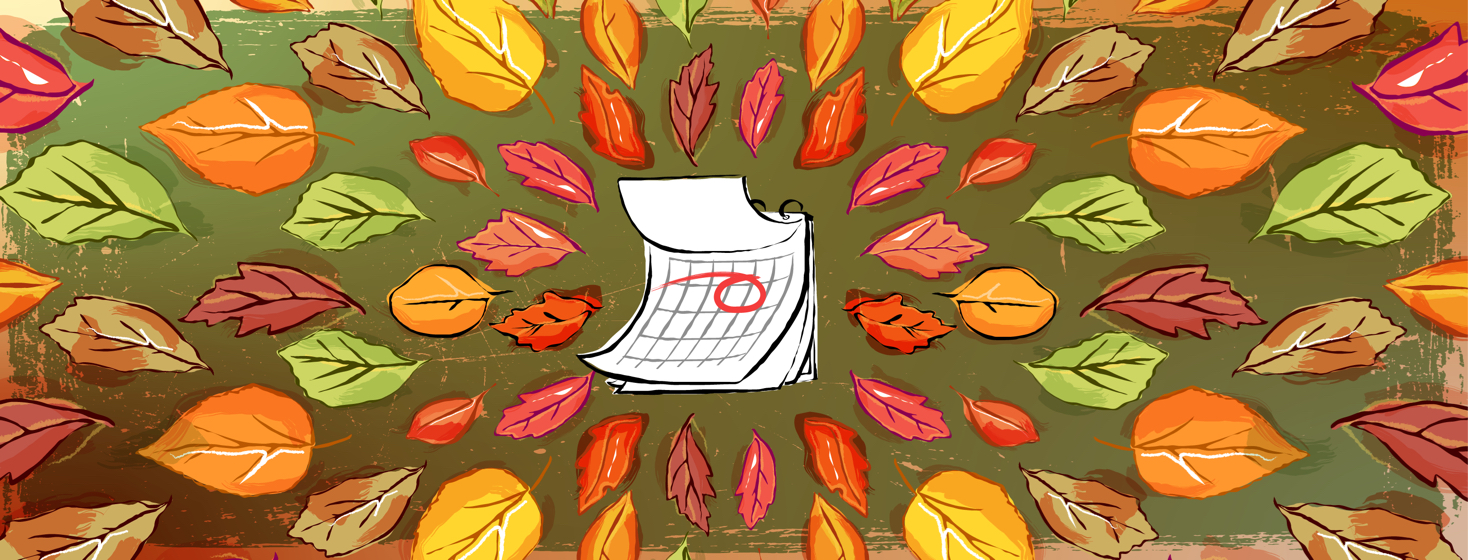 A calendar page with a large red circle is surrounded by a wreath of fall leaves.