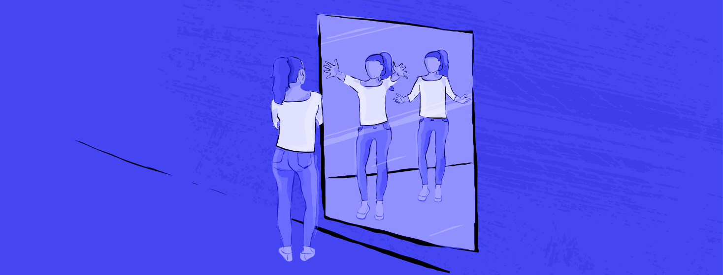 A woman looks into the mirror with crossed arms, as numerous iterations in her reflection reach out to her for acceptance.