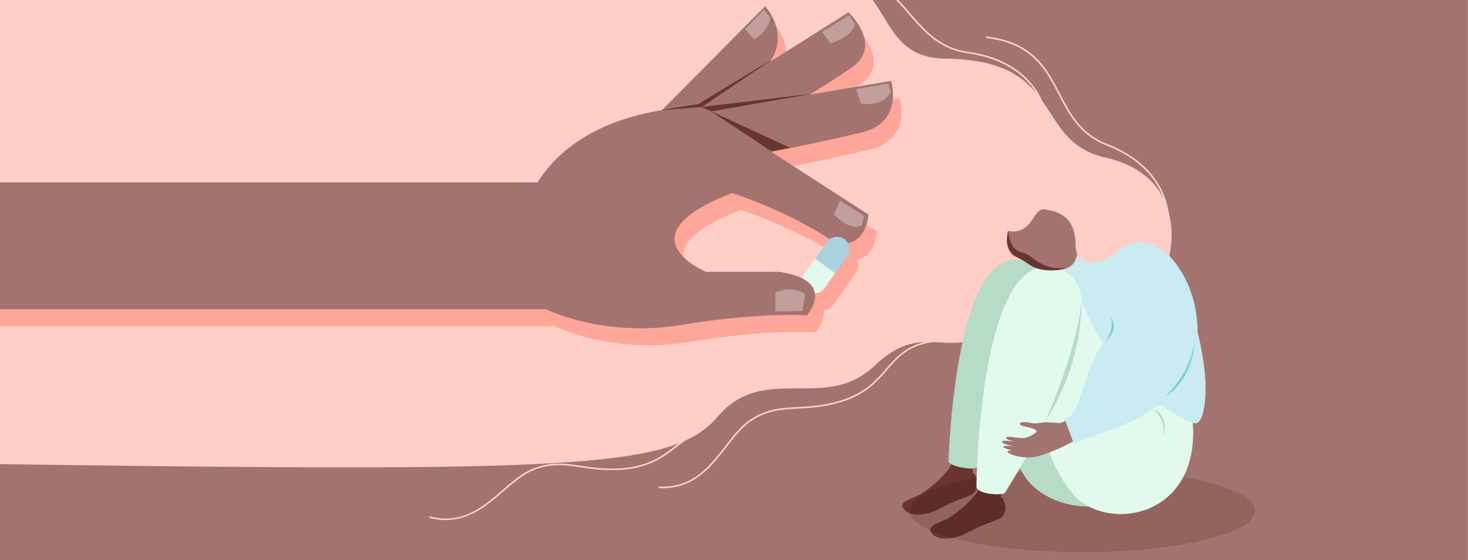 A woman crouches while a hand holds out a pill for her to swallow.