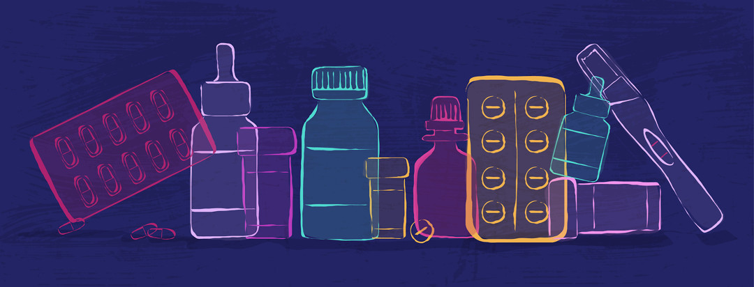 A display of various types of medicines/oils/tests for treating endometriosis.