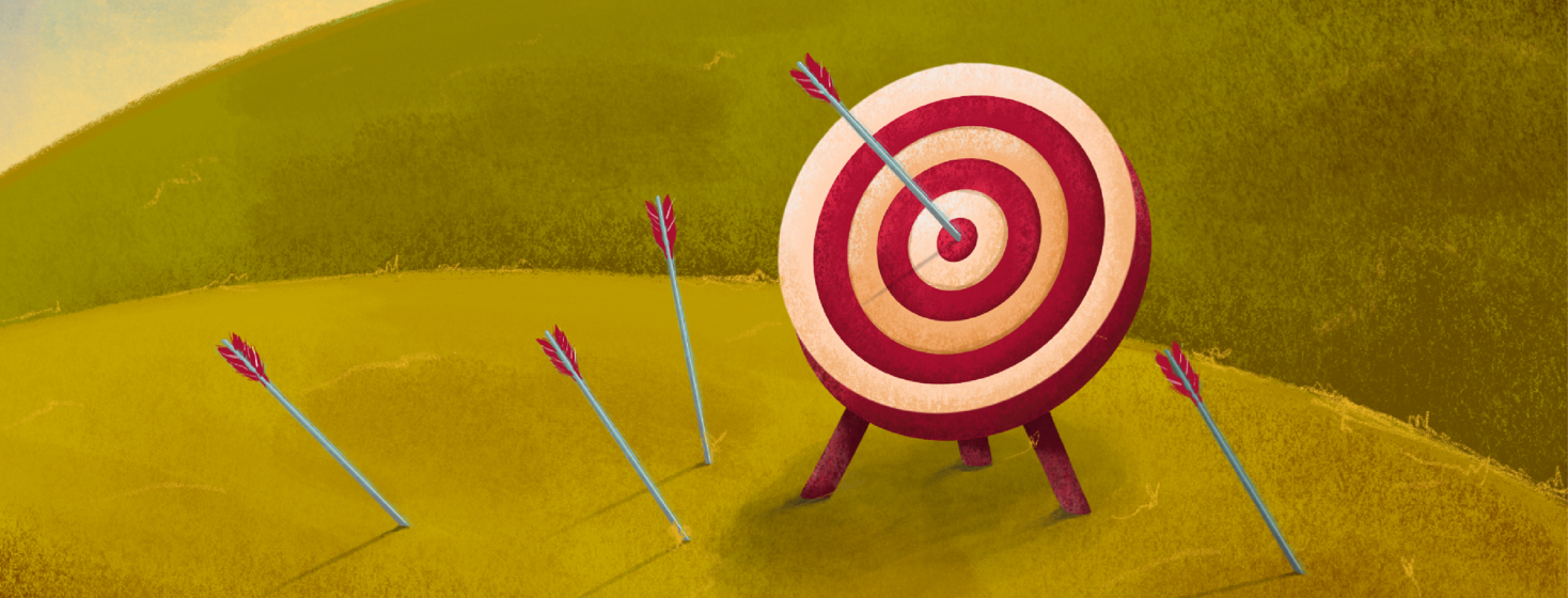 A bullseye target is in the middle of rolling hills, while arrows rain down on it, all missing but one.