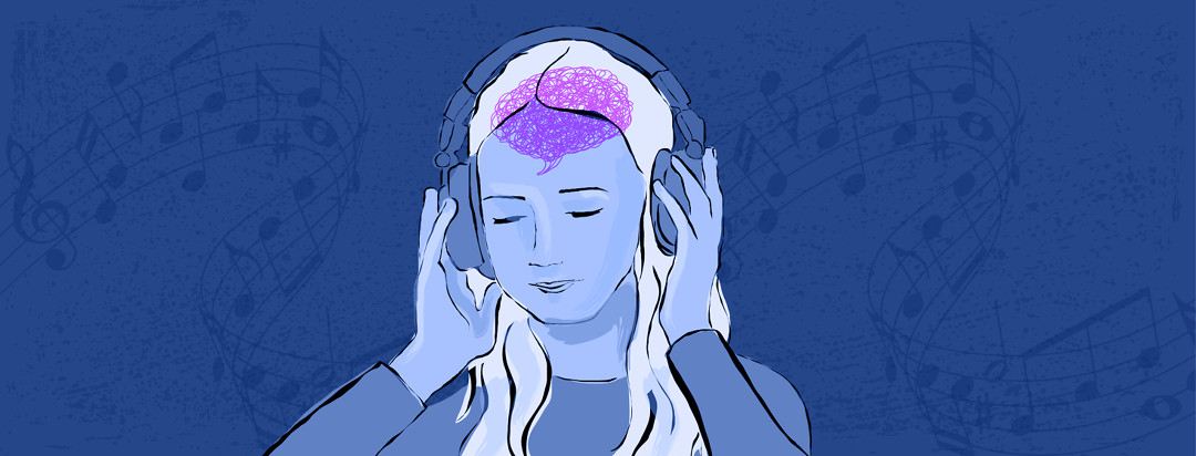 A woman is pressing headphones into her ears while music notes dance behind her, and her brain appears as a chaotic scribble in her head.