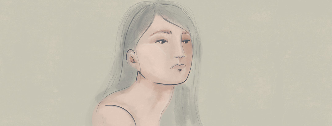 A woman stares off into the distance while melancholy hues paint her face - exposing her depression