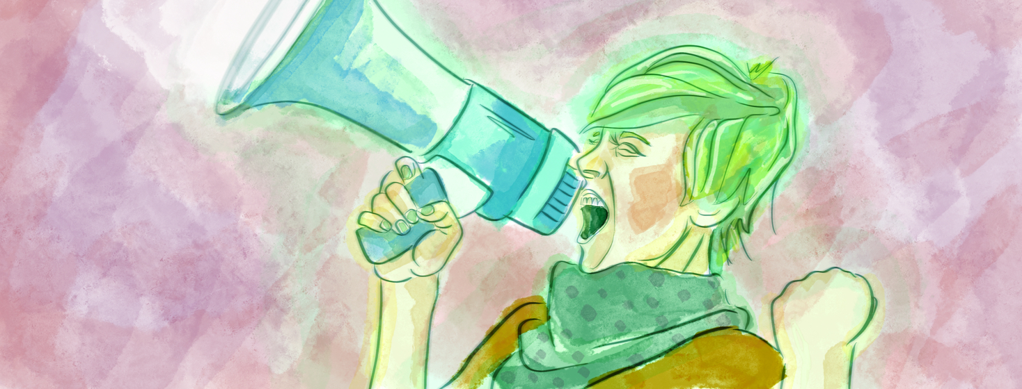 An alternative female yells into a bullhorn, making her voice heard