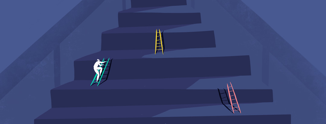 A woman is climbing an enlarged staircase with ladders set up between each step to emphasis scale.