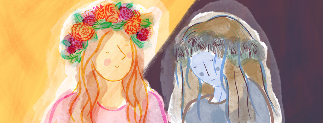 A woman wearing a vibrant flower crown is smiling brightly while another version of herself has a wilted flower crown and very sullen.