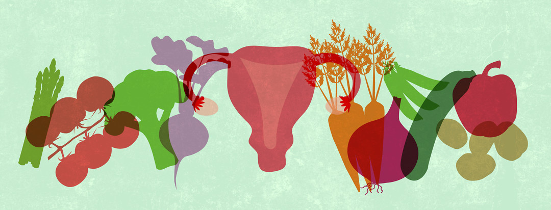 A uterus sandwiched in a lineup of healthy food silhouettes.