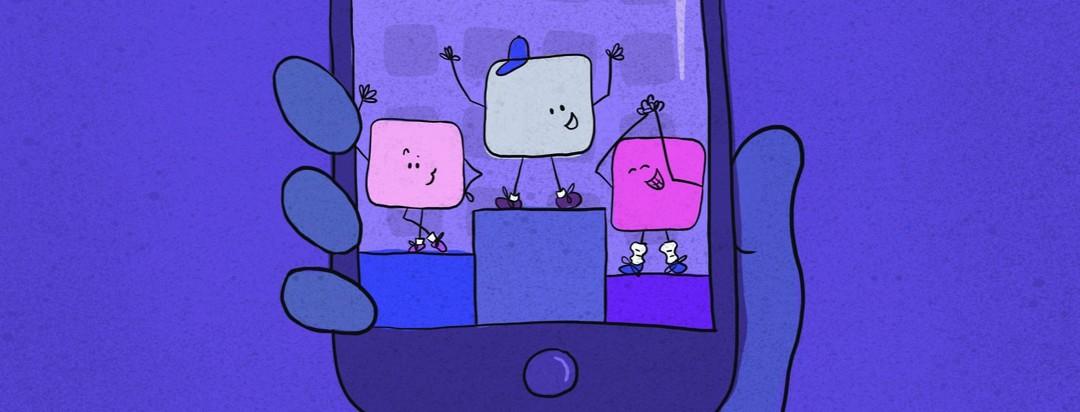 Phone showing 3 winning apps on pedestals