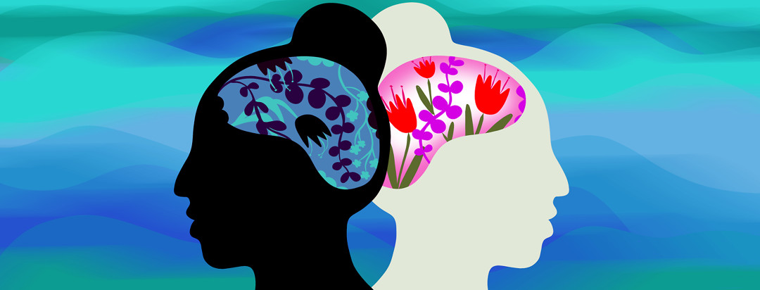 A woman's head is reflected and faced back to back - one of the brains encompasses vibrant colorful flowers, while the other includes dark and wilted flowers.