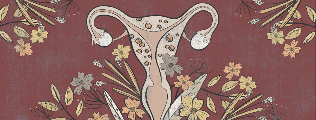 A uterus with adenomyosis in the muscles, along with organic greenery and flowers around it.