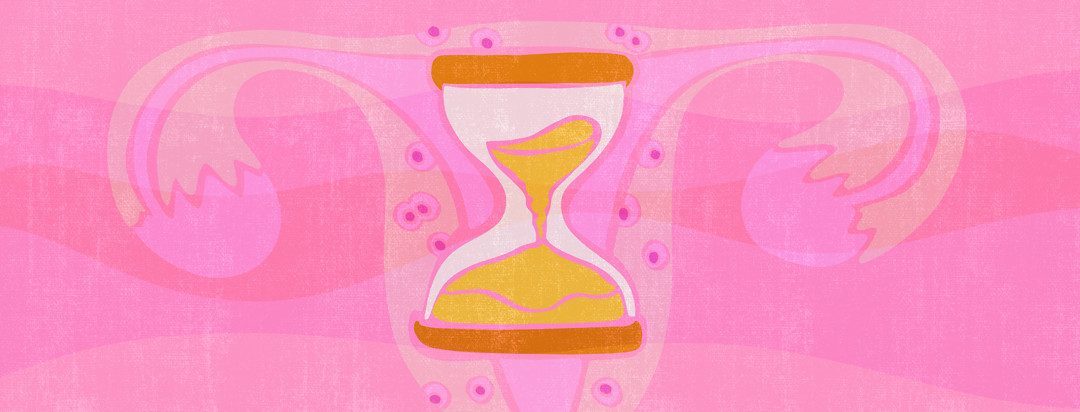 An hourglass sits in the middle of a uterus that's lined with endometrial tissues embedded in the surrounding muscle.