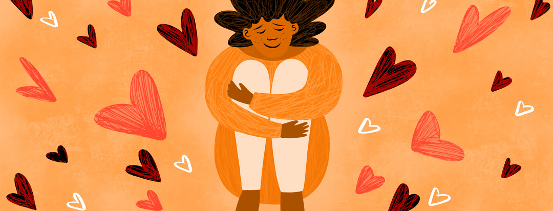 A woman hugs her legs into her chest, smiling, with hearts radiating from her self love.