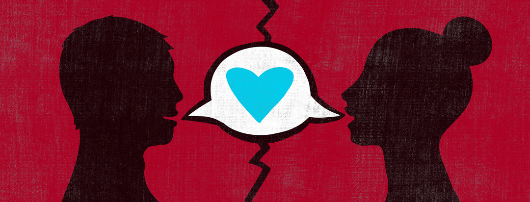 A woman and her partner are featured on opposite sides of a divide, while a heart bubble breaks this divide, showing a loving dialogue with a heart.