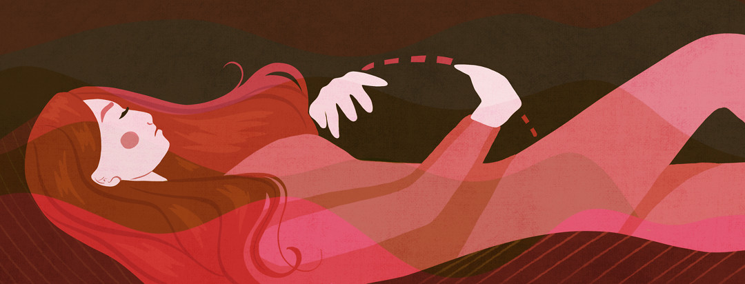 A woman lies down and clutches an empty space where she's wishing her growing womb was.