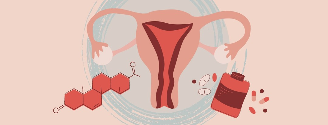 a uterus with a thickened lining with a molecular drawing of progesterone on one side of it and supplements of progesterone and vitamins on the other side