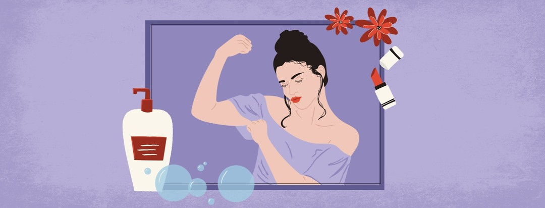 a woman with lipstick on flexing her arm muscles in a frame made of lipstick, flowers, bubbles, and a bottle of lotion