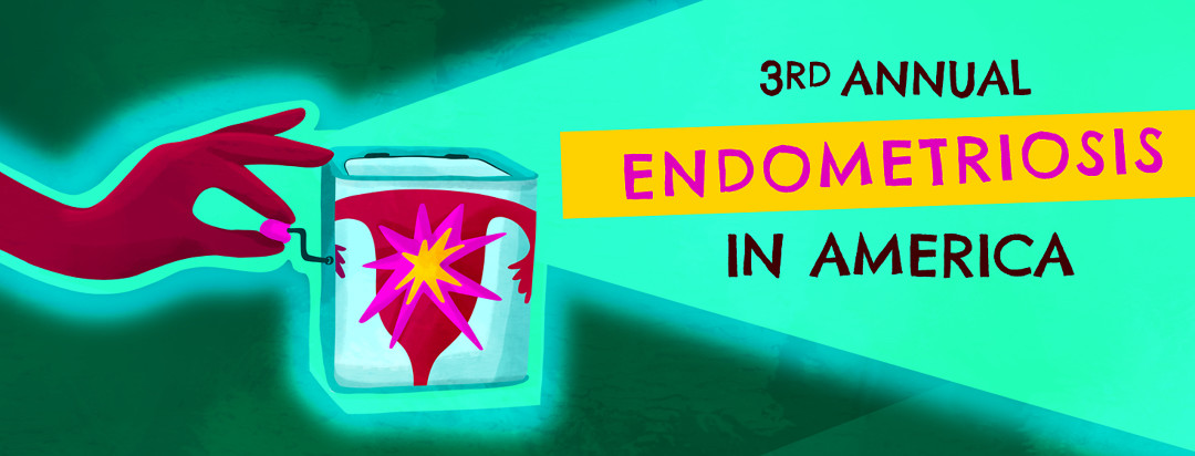 """A hand holds the crank of a jack in the box with a uterus graphic pictured on the front of the box, exploding from inside, and the text """"3rd Annual Endometriosis In America""""."""
