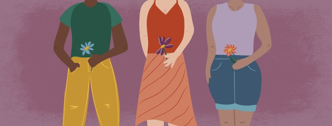 a line of woman holding a flower in front of their uterus