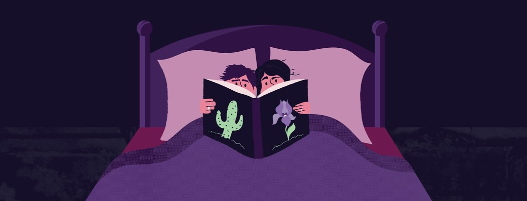 a couple sitting in bed together reading a book that has a cactus and an iris on the cover