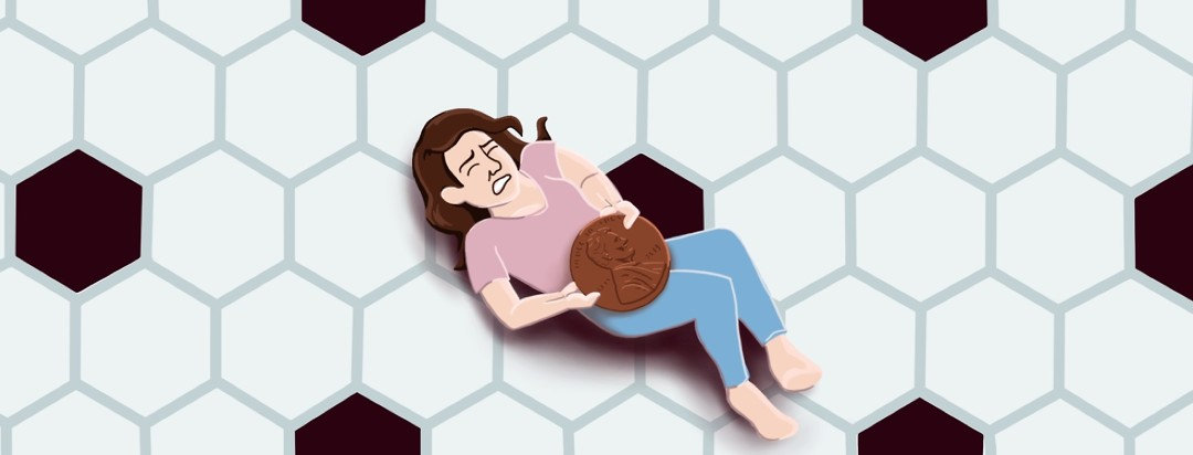 Smaller than life woman struggling to lift a giant, heavy penny off of her abdomen.