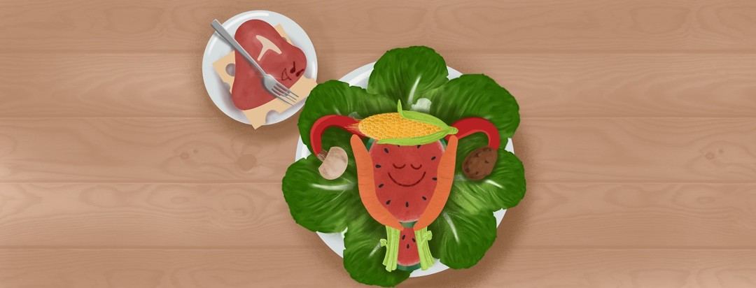 An angry steak pointing a sharp fork at a plate of vegetables arranged to look like a happy uterus.