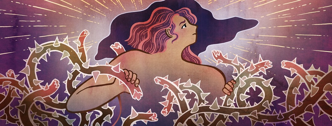A woman breaks free from a tangle of thorns with a cloud's silver lining behind her.