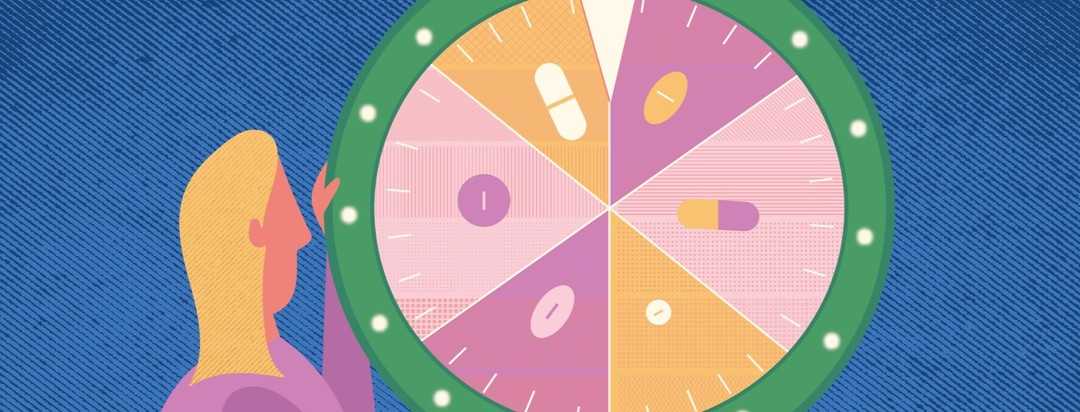 a woman about to spin a colorful wheel showing different pills on each section of it