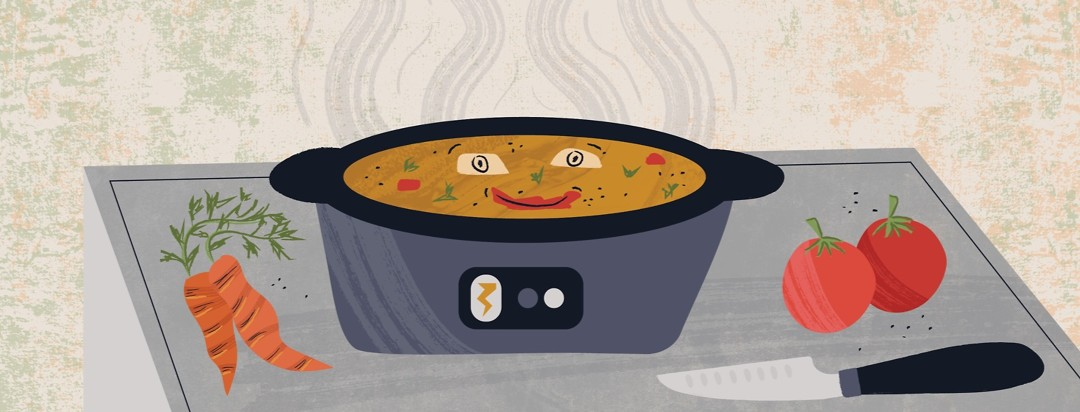a crockpot cooking a meal with the food making a smiley face and a knife, carrots, and tomatoes surrounding the pot