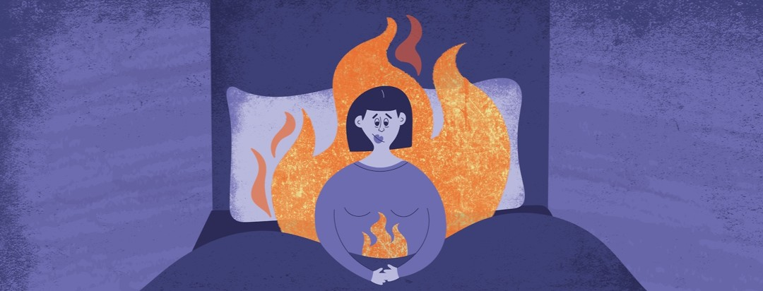 a woman sitting awake in bed surrounded by flames of fire