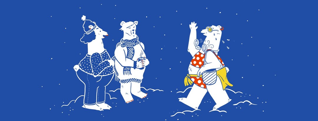 A polar bear sweating and wearing a 2 pieces outfit with a personal fan around her neck approaching 2 other polar bears wearing sweaters and scarves