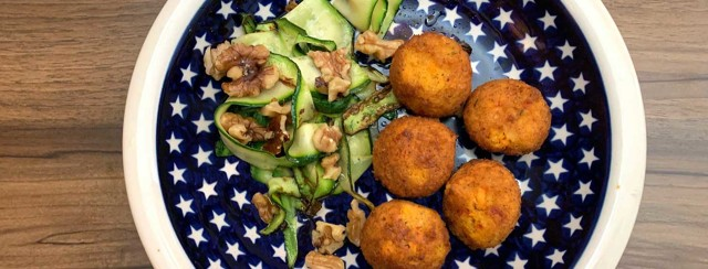 Sweet Potato Falafel With Courgette Ribbons