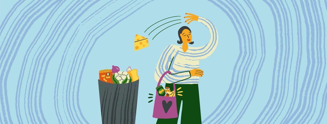 Woman holds a bag of foods that make her feel good, while throwing away those that don't.