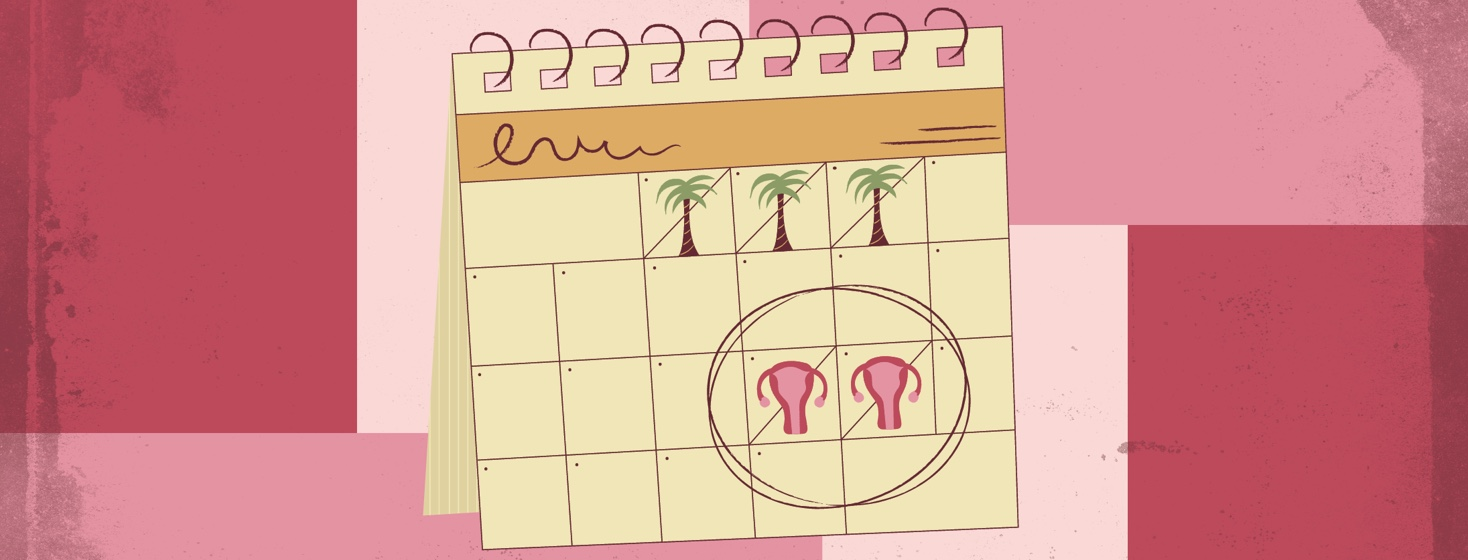 a calendar showing days for vacation and also menstrual leave
