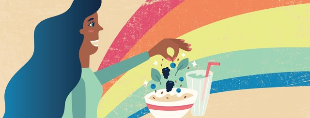a woman sprinkling berries and seeds on a bowl of food and a smoothie with a rainbow in the background
