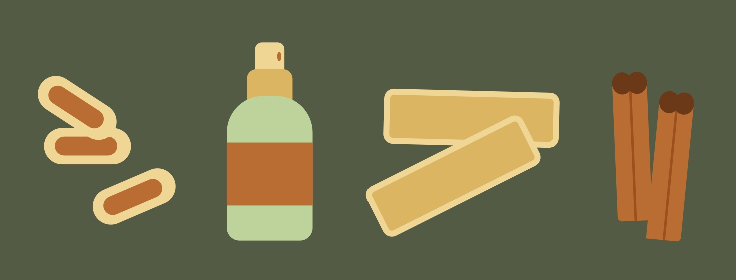 A series of natural remedies including ginger pills, spray and cinnamon sticks