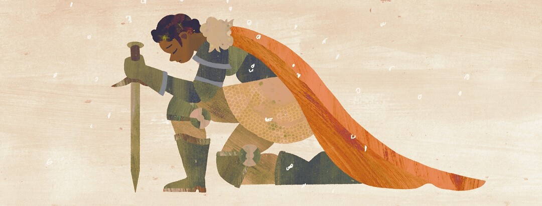A female knight kneels, resting on her sword
