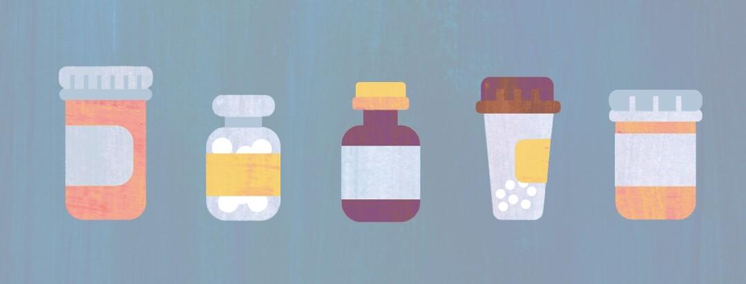 A series of pill bottles