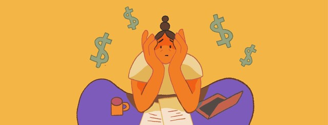 A worried woman sits at a desk with dollar signs floating above her head
