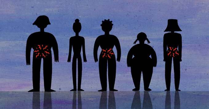 A line of people stand in silhouette, half of them have signs of cramps and pain in their abdomen