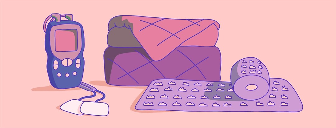 A TENS unit, a weighted blanket and an acupressure mat